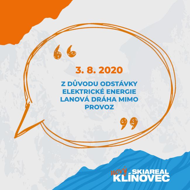 Z důvodu odstávky elektrické energie bude 3.8. lanovka mimo provoz.